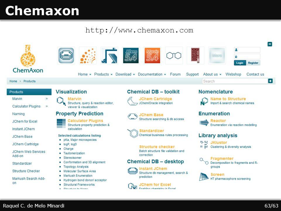 Chemaxon Raquel C. de Melo Minardi http://www.chemaxon.com 63/63