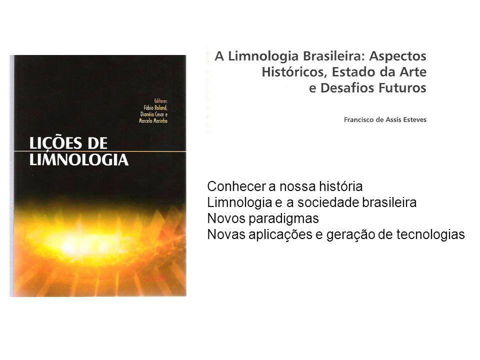 Conhecer a nossa história Limnologia e a sociedade brasileira Novos paradigmas Novas aplicações e geração de tecnologias