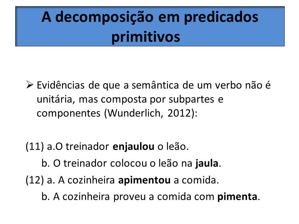 A decomposição em predicados primitivos Evidências de que a semântica de um verbo não é unitária, mas composta por subpartes e componentes (Wunderlich
