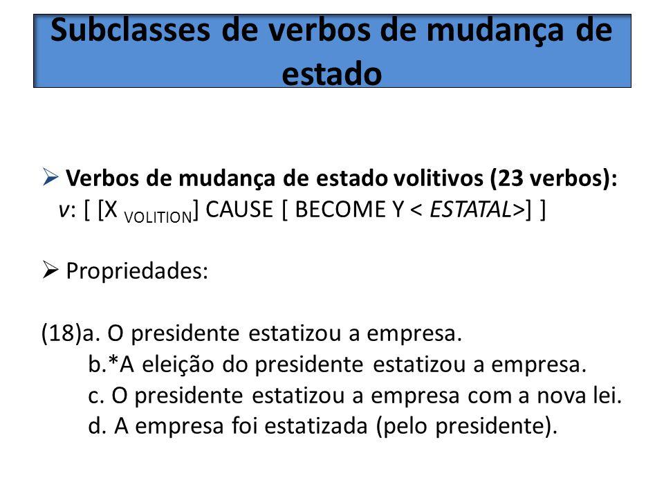 Subclasses de verbos de mudança de estado Verbos de mudança de estado volitivos (23 verbos): v: [ [X VOLITION ] CAUSE [ BECOME Y ] ] Propriedades: (18