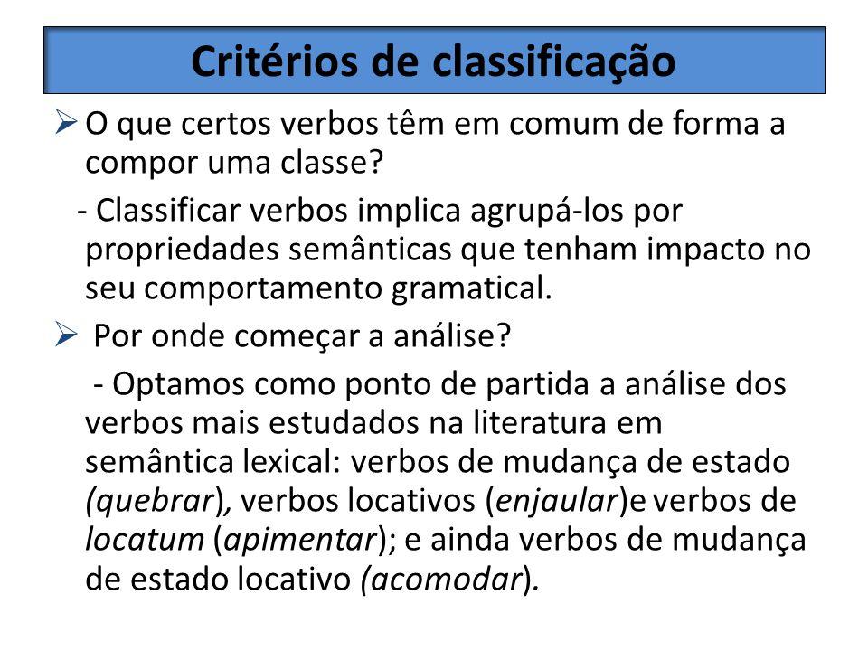 Critérios de classificação O que certos verbos têm em comum de forma a compor uma classe? - Classificar verbos implica agrupá-los por propriedades sem