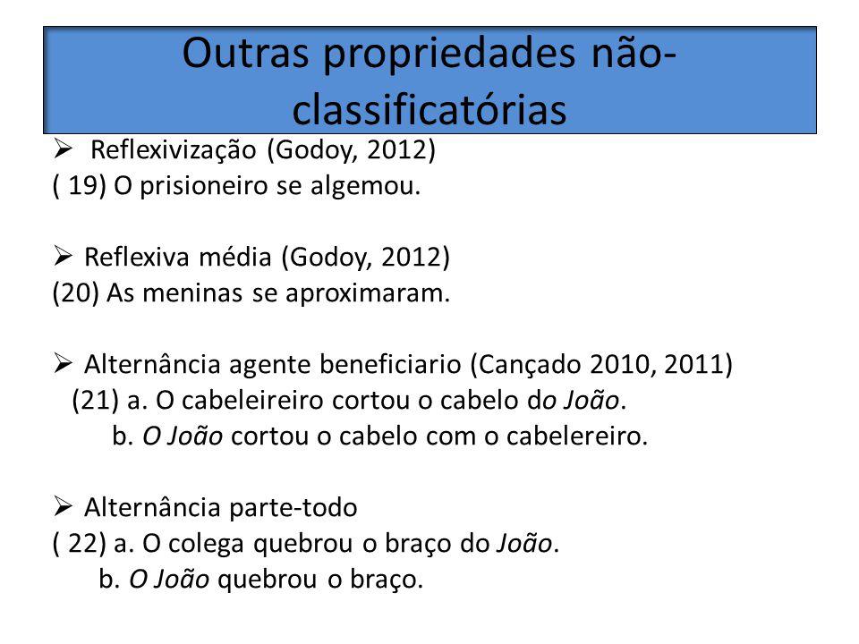 Outras propriedades não- classificatórias Reflexivização (Godoy, 2012) ( 19) O prisioneiro se algemou. Reflexiva média (Godoy, 2012) (20) As meninas s