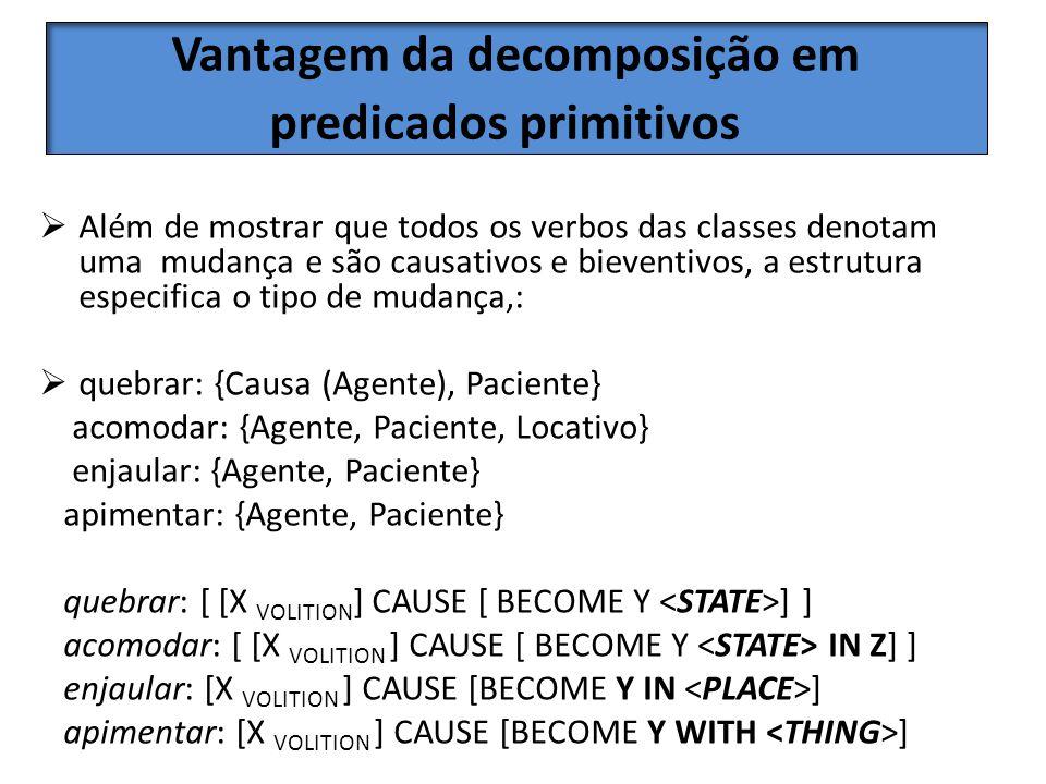 Vantagem da decomposição em predicados primitivos Além de mostrar que todos os verbos das classes denotam uma mudança e são causativos e bieventivos,