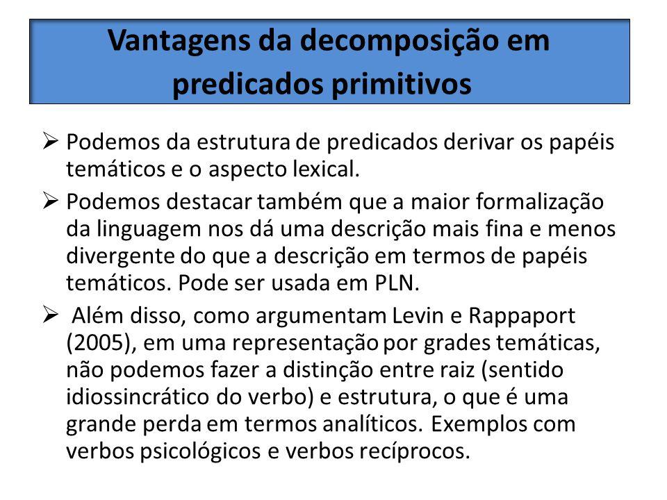 Vantagens da decomposição em predicados primitivos Podemos da estrutura de predicados derivar os papéis temáticos e o aspecto lexical. Podemos destaca