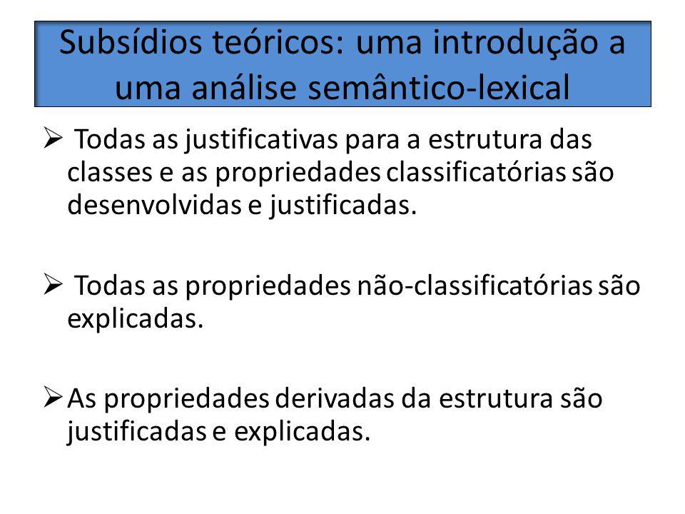 Subsídios teóricos: uma introdução a uma análise semântico-lexical Todas as justificativas para a estrutura das classes e as propriedades classificató