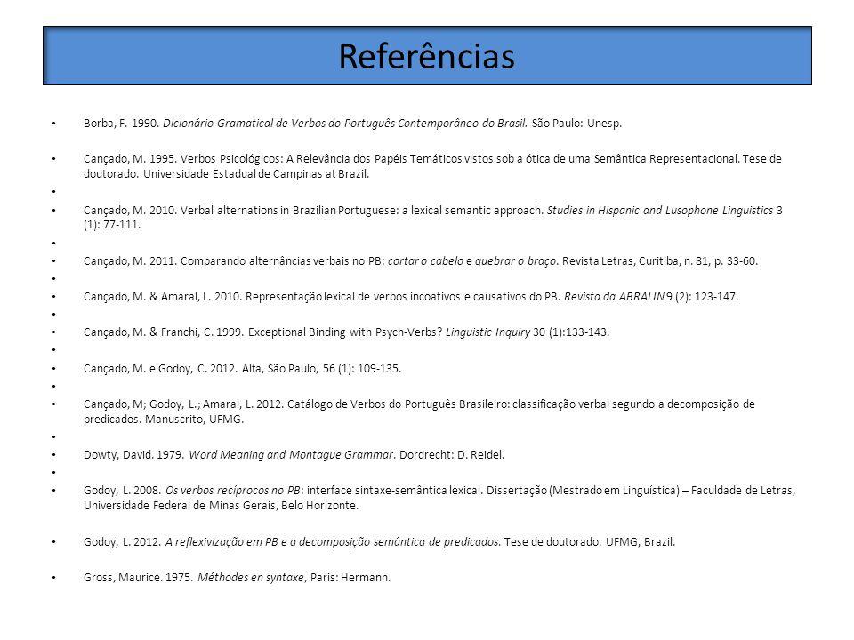 Referências Borba, F. 1990. Dicionário Gramatical de Verbos do Português Contemporâneo do Brasil. São Paulo: Unesp. Cançado, M. 1995. Verbos Psicológi