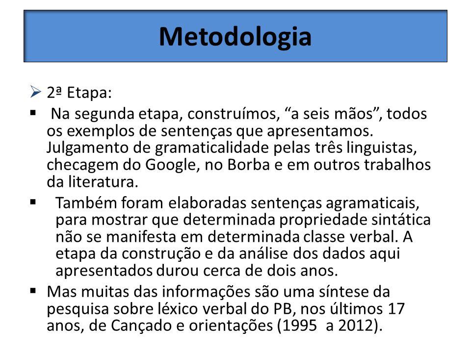 Metodologia 2ª Etapa: Na segunda etapa, construímos, a seis mãos, todos os exemplos de sentenças que apresentamos. Julgamento de gramaticalidade pelas