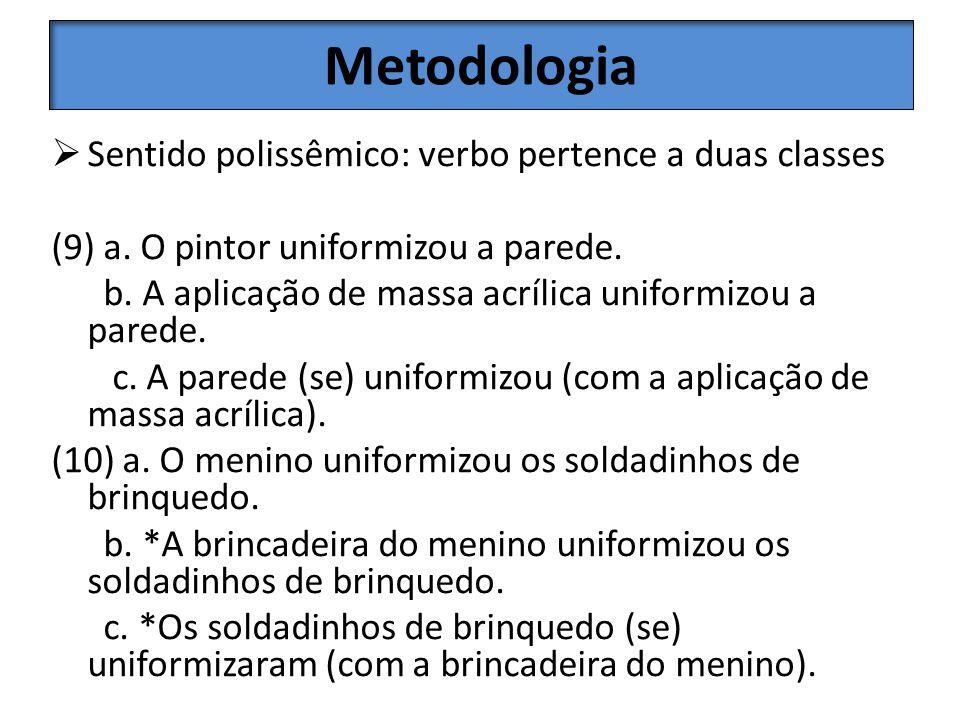 Metodologia Sentido polissêmico: verbo pertence a duas classes (9) a. O pintor uniformizou a parede. b. A aplicação de massa acrílica uniformizou a pa