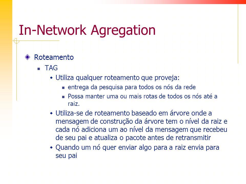 In-Network Agregation Roteamento TAG Utiliza qualquer roteamento que proveja: entrega da pesquisa para todos os nós da rede Possa manter uma ou mais rotas de todos os nós até a raiz.