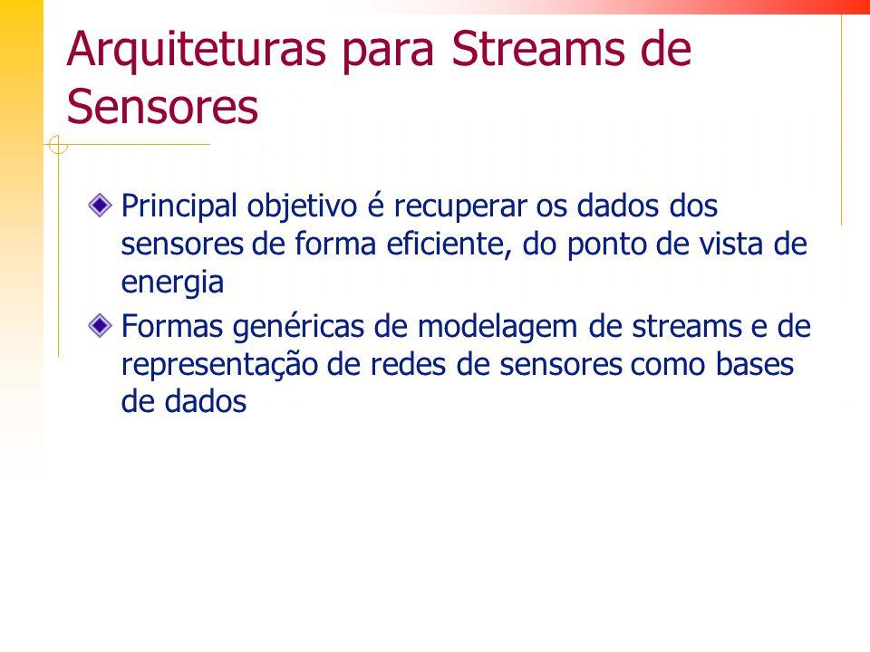 Arquiteturas para Streams de Sensores Principal objetivo é recuperar os dados dos sensores de forma eficiente, do ponto de vista de energia Formas genéricas de modelagem de streams e de representação de redes de sensores como bases de dados