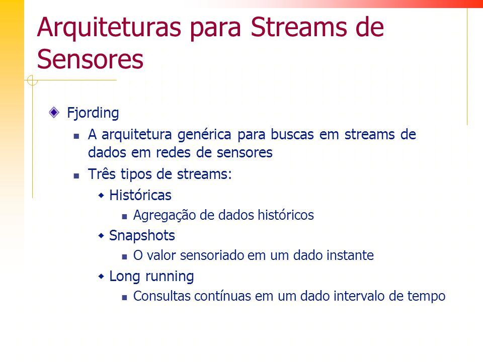 Arquiteturas para Streams de Sensores Fjording A arquitetura genérica para buscas em streams de dados em redes de sensores Três tipos de streams: Históricas Agregação de dados históricos Snapshots O valor sensoriado em um dado instante Long running Consultas contínuas em um dado intervalo de tempo