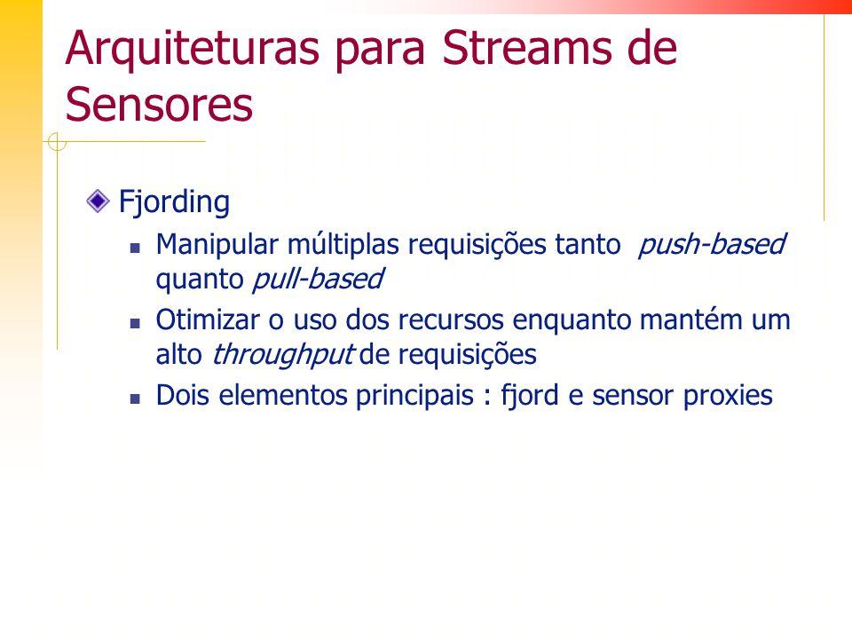 Arquiteturas para Streams de Sensores Fjording Manipular múltiplas requisições tanto push-based quanto pull-based Otimizar o uso dos recursos enquanto mantém um alto throughput de requisições Dois elementos principais : fjord e sensor proxies