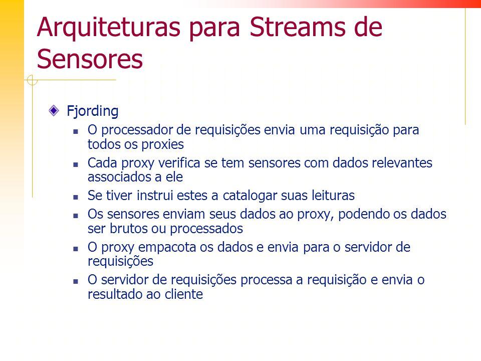 Arquiteturas para Streams de Sensores Fjording O processador de requisições envia uma requisição para todos os proxies Cada proxy verifica se tem sensores com dados relevantes associados a ele Se tiver instrui estes a catalogar suas leituras Os sensores enviam seus dados ao proxy, podendo os dados ser brutos ou processados O proxy empacota os dados e envia para o servidor de requisições O servidor de requisições processa a requisição e envia o resultado ao cliente