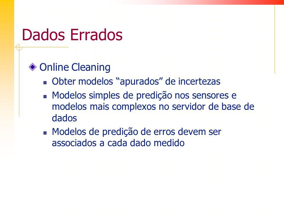 Dados Errados Online Cleaning Obter modelos apurados de incertezas Modelos simples de predição nos sensores e modelos mais complexos no servidor de base de dados Modelos de predição de erros devem ser associados a cada dado medido