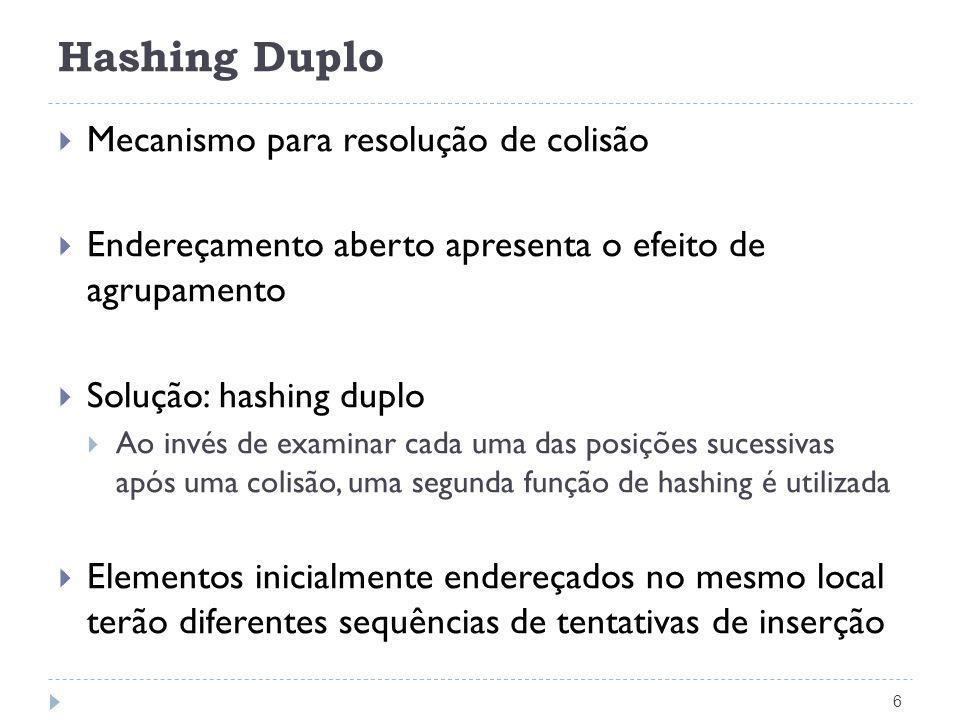 Hashing Duplo 7 Apontador Pesquisa(TipoChave Ch, TipoPesos p, TipoDicionario T) { unsigned int i=0, count = 0; unsigned int Inicial, segundo; Inicial = h(Ch, p); /* transforma a chave */ segundo = h2(Inicial); /* h2(x) = ((x%97)+1) */ while ((strcmp(T[(Inicial + i) % M].Chave, Vazio) != 0) && (strcmp(T[(Inicial + i) % M].Chave, Ch) != 0) && (count < M)) { i += segundo; count++; } if (strcmp(T[(Inicial + i) % M].Chave, Ch) == 0) return ((Inicial + i) % M); else return M; /* Pesquisa sem sucesso */ }