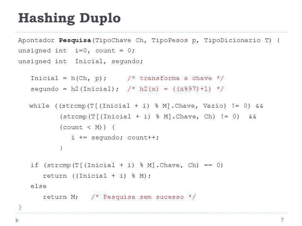 Hashing Duplo 7 Apontador Pesquisa(TipoChave Ch, TipoPesos p, TipoDicionario T) { unsigned int i=0, count = 0; unsigned int Inicial, segundo; Inicial