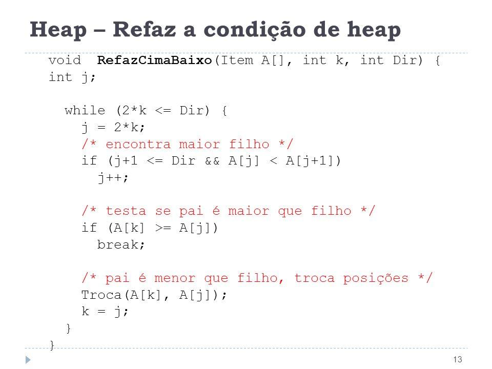 Heap – Refaz a condição de heap 13 void RefazCimaBaixo(Item A[], int k, int Dir) { int j; while (2*k <= Dir) { j = 2*k; /* encontra maior filho */ if (j+1 <= Dir && A[j] < A[j+1]) j++; /* testa se pai é maior que filho */ if (A[k] >= A[j]) break; /* pai é menor que filho, troca posições */ Troca(A[k], A[j]); k = j; }
