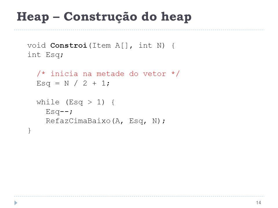 Heap – Construção do heap 14 void Constroi(Item A[], int N) { int Esq; /* inicia na metade do vetor */ Esq = N / 2 + 1; while (Esq > 1) { Esq--; RefazCimaBaixo(A, Esq, N); }