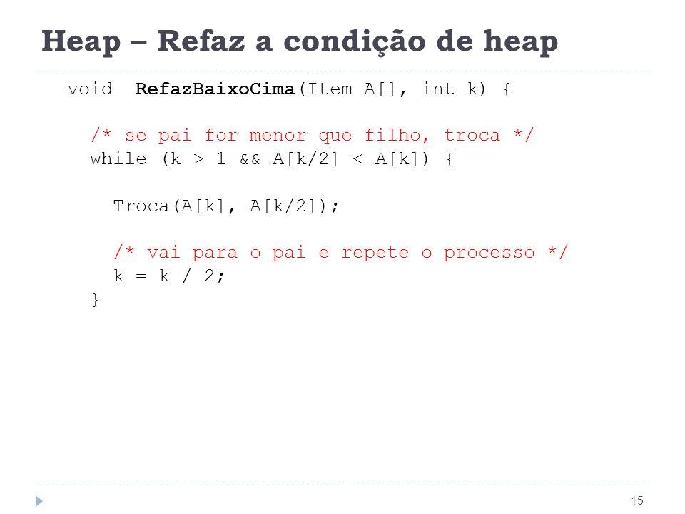 Heap – Refaz a condição de heap 15 void RefazBaixoCima(Item A[], int k) { /* se pai for menor que filho, troca */ while (k > 1 && A[k/2] < A[k]) { Troca(A[k], A[k/2]); /* vai para o pai e repete o processo */ k = k / 2; }