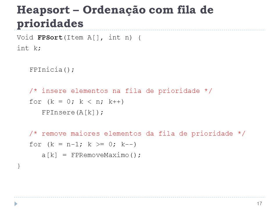 Heapsort – Ordenação com fila de prioridades 17 Void FPSort(Item A[], int n) { int k; FPInicia(); /* insere elementos na fila de prioridade */ for (k
