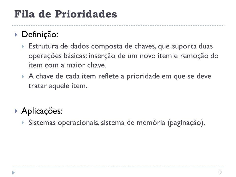 Fila de Prioridades 3 Definição: Estrutura de dados composta de chaves, que suporta duas operações básicas: inserção de um novo item e remoção do item com a maior chave.