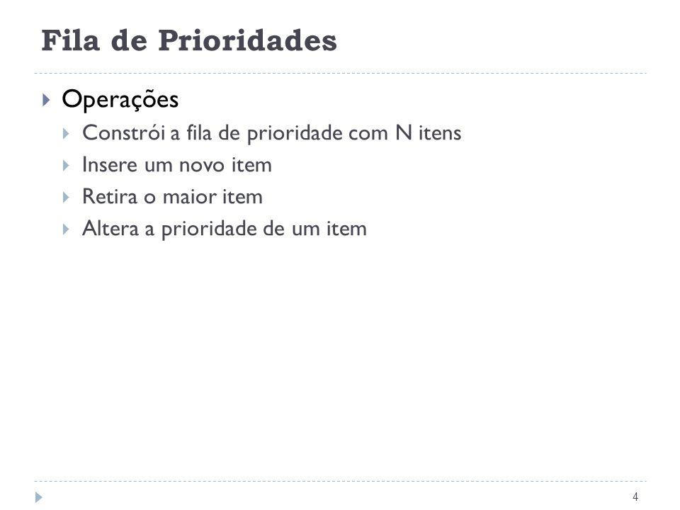 Fila de Prioridades 4 Operações Constrói a fila de prioridade com N itens Insere um novo item Retira o maior item Altera a prioridade de um item