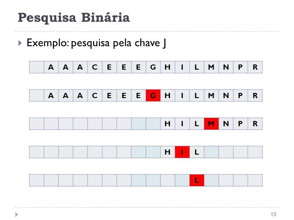 Pesquisa Binária 13 Exemplo: pesquisa pela chave J AAACEEEGHILMNPR AAACEEEGHILMNPR HILMNPR HIL L