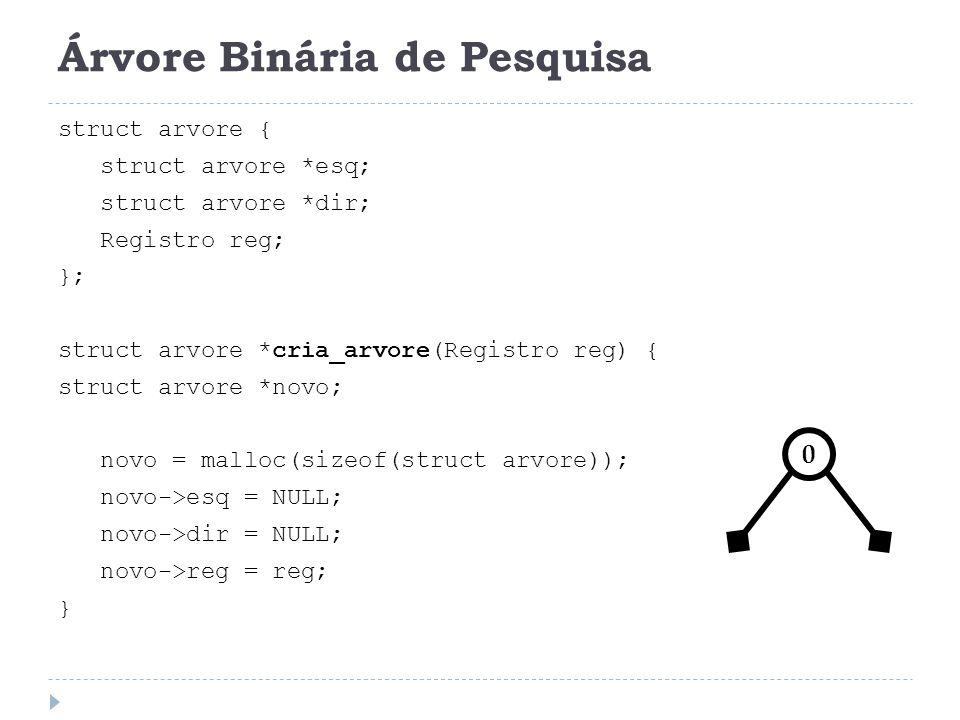Árvore Binária de Pesquisa struct arvore { struct arvore *esq; struct arvore *dir; Registro reg; }; struct arvore *cria_arvore(Registro reg) { struct