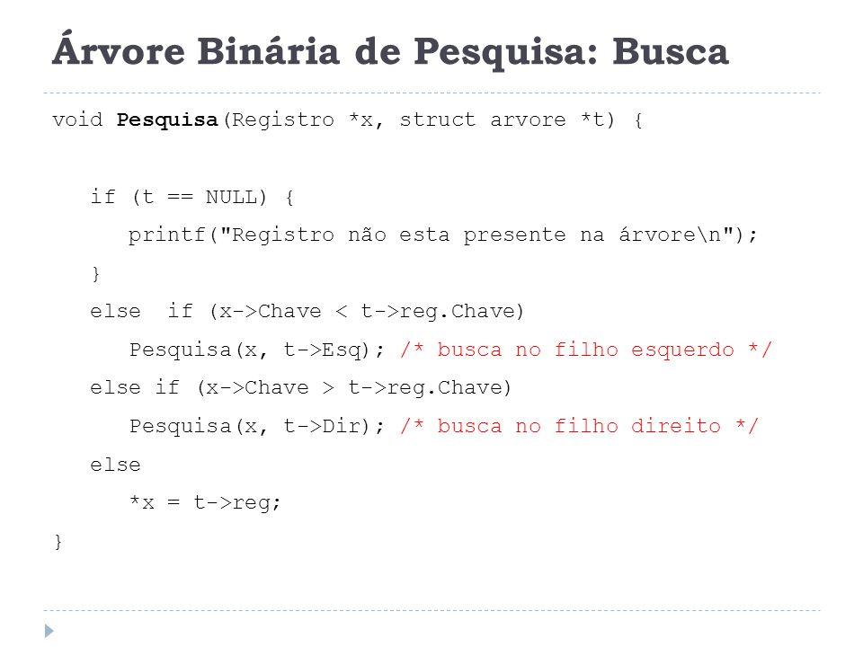 Árvore Binária de Pesquisa: Busca void Pesquisa(Registro *x, struct arvore *t) { if (t == NULL) { printf(