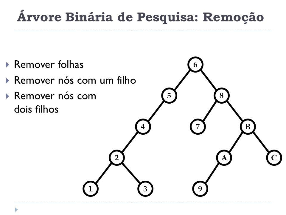 Árvore Binária de Pesquisa: Remoção Remover folhas Remover nós com um filho Remover nós com dois filhos 85 6 4B 2AC 139 7