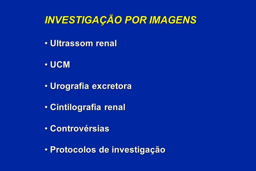 INVESTIGAÇÃO POR IMAGENS Ultrassom renal Ultrassom renal UCM UCM Urografia excretora Urografia excretora Cintilografia renal Cintilografia renal Contr