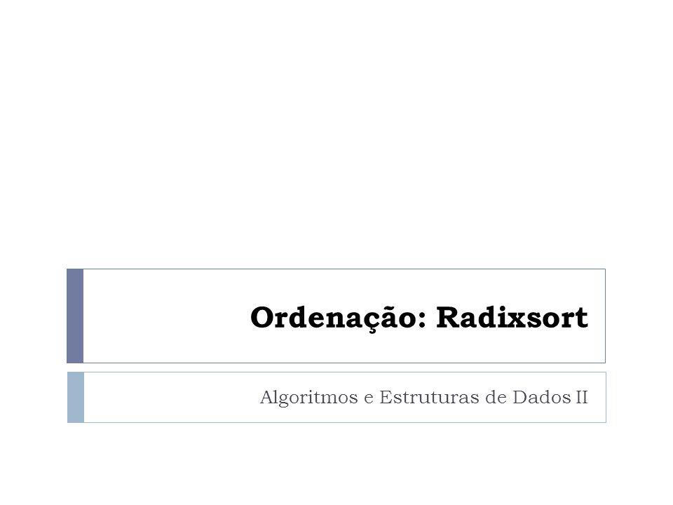 Ordenação: Radixsort Algoritmos e Estruturas de Dados II