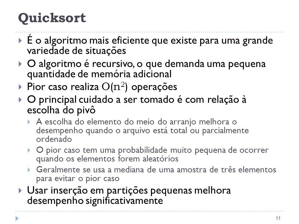 Quicksort 11 É o algoritmo mais eficiente que existe para uma grande variedade de situações O algoritmo é recursivo, o que demanda uma pequena quantid