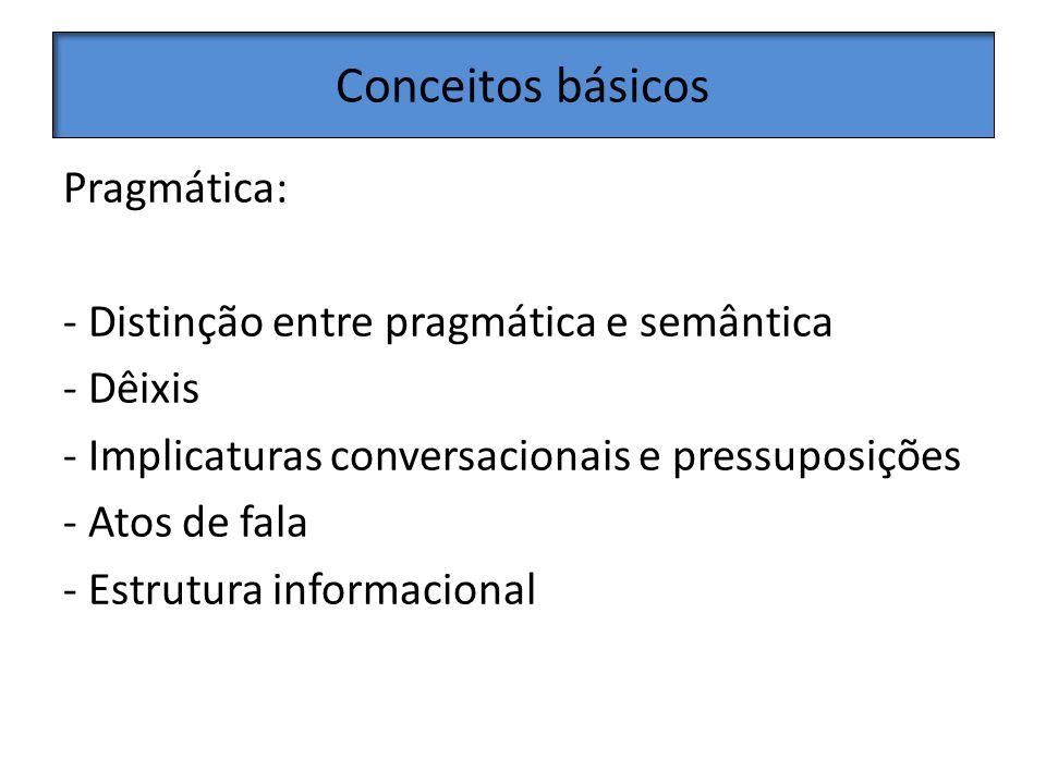 Conceitos básicos Pragmática: - Distinção entre pragmática e semântica - Dêixis - Implicaturas conversacionais e pressuposições - Atos de fala - Estrutura informacional