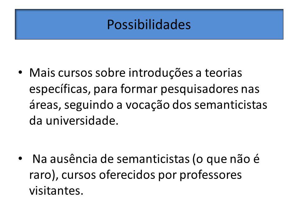 Possibilidades Mais cursos sobre introduções a teorias específicas, para formar pesquisadores nas áreas, seguindo a vocação dos semanticistas da universidade.