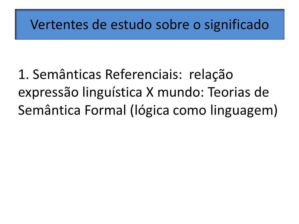 Conteúdo de graduação Curso de Introdução à Semântica na graduação, sem focar em uma teoria (como nos manuais de semântica); mas essa não é a nossa realidade brasileira.