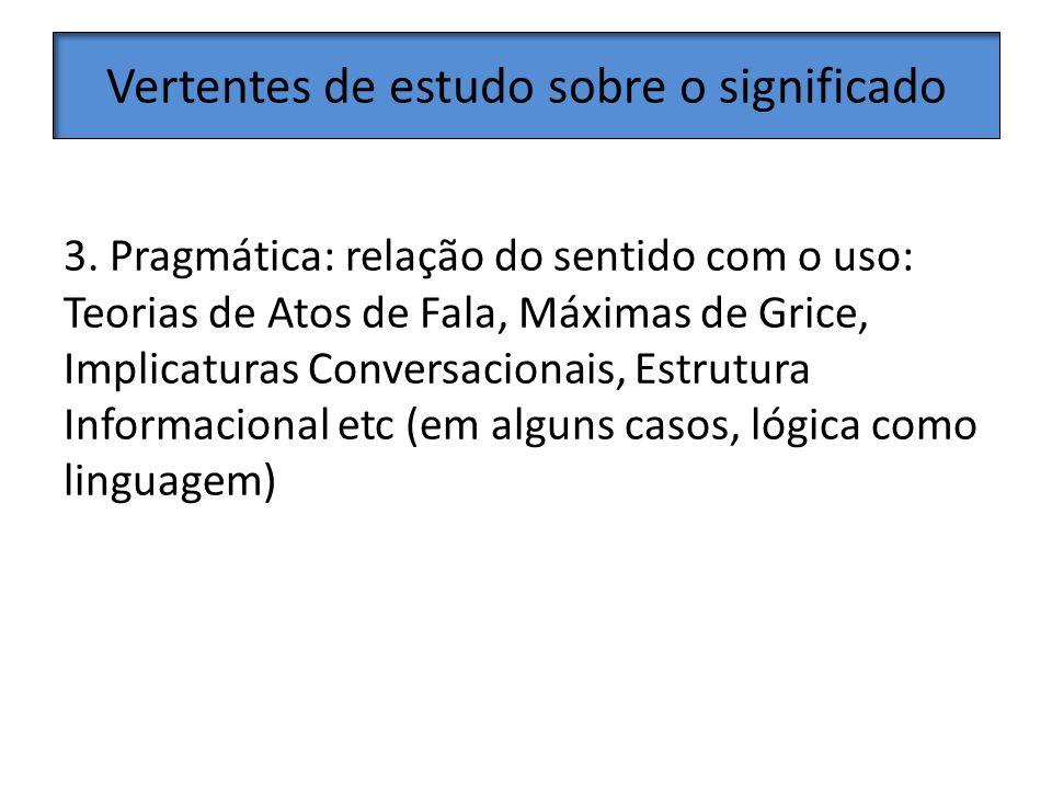Vertentes de estudo sobre o significado Teorias de Semântica discursiva; relação do sentido com o discurso.