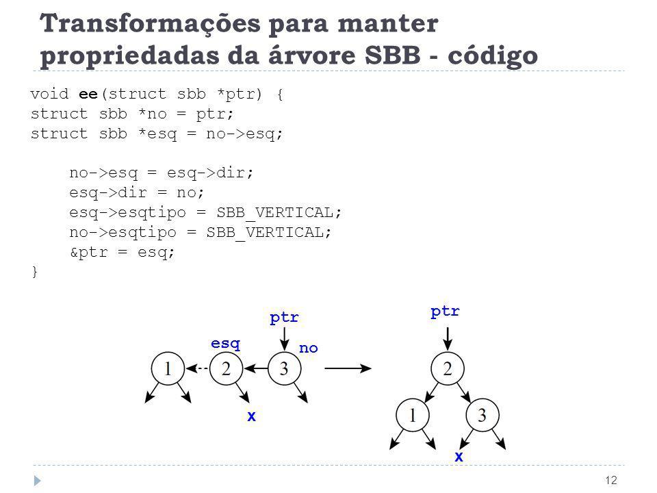 Transformações para manter propriedadas da árvore SBB - código 12 void ee(struct sbb *ptr) { struct sbb *no = ptr; struct sbb *esq = no->esq; no->esq