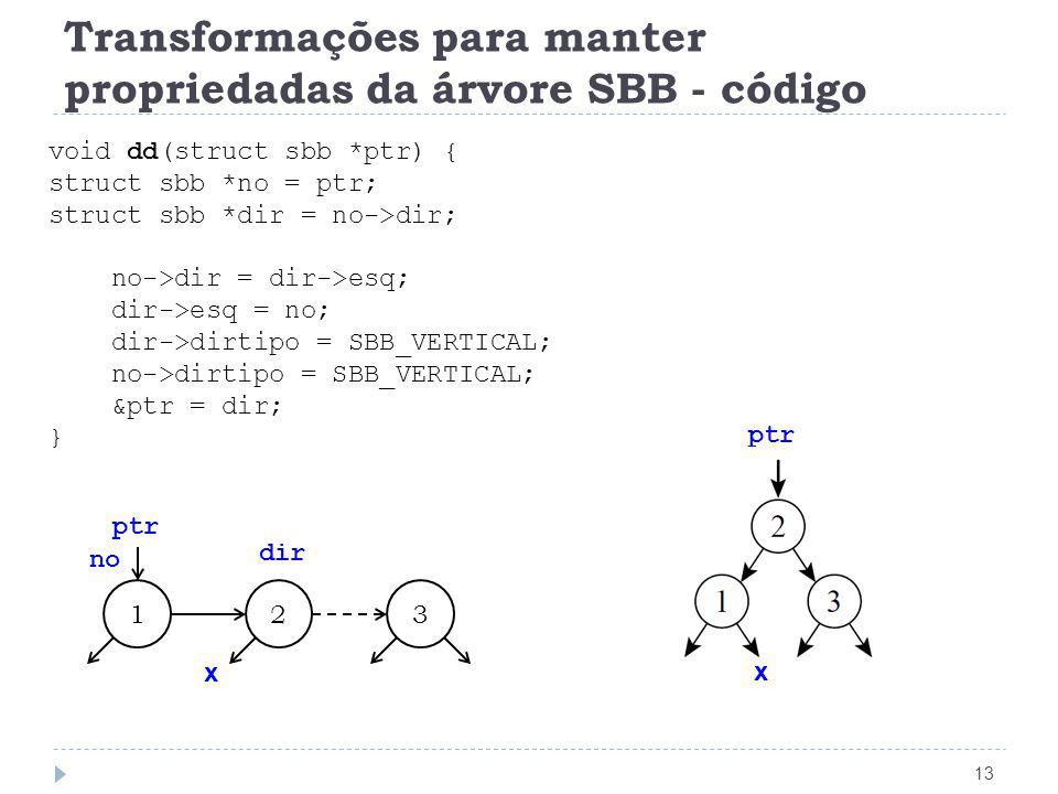 Transformações para manter propriedadas da árvore SBB - código 13 void dd(struct sbb *ptr) { struct sbb *no = ptr; struct sbb *dir = no->dir; no->dir
