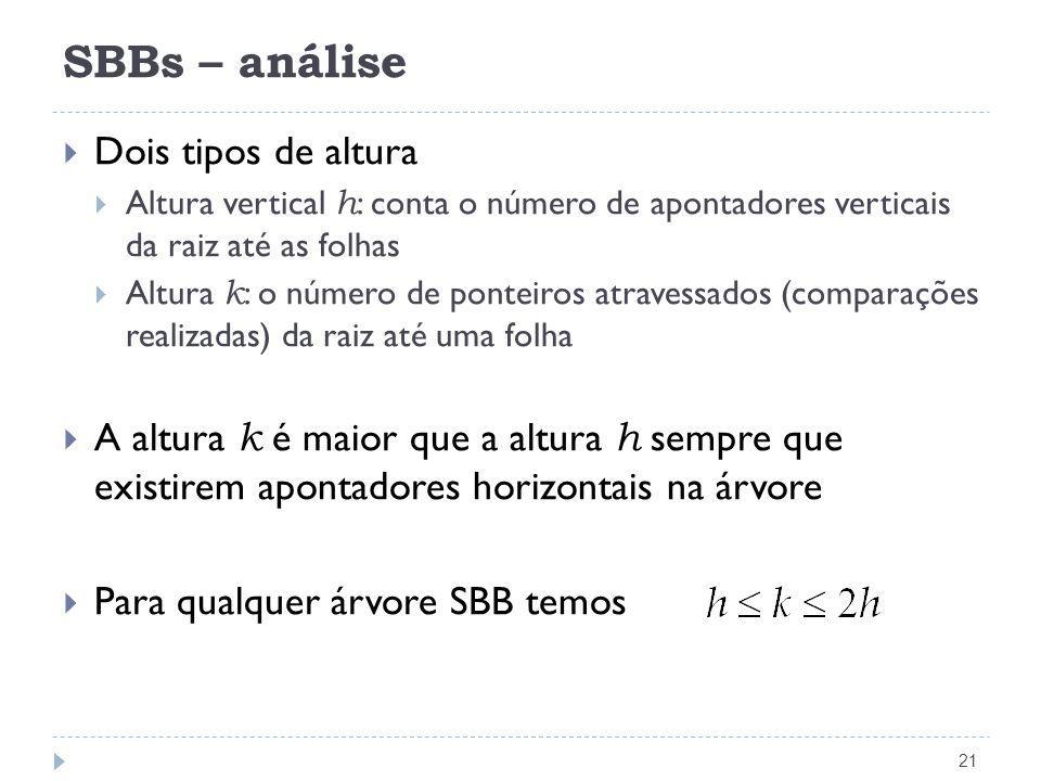 SBBs – análise 21 Dois tipos de altura Altura vertical h : conta o número de apontadores verticais da raiz até as folhas Altura k : o número de pontei