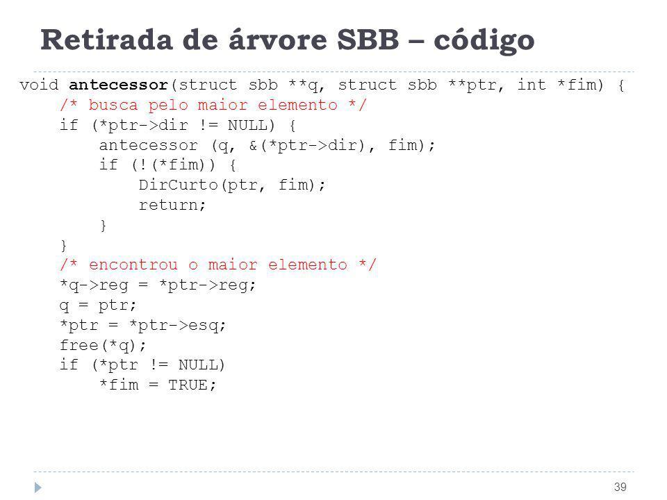 Retirada de árvore SBB – código 39 void antecessor(struct sbb **q, struct sbb **ptr, int *fim) { /* busca pelo maior elemento */ if (*ptr->dir != NULL