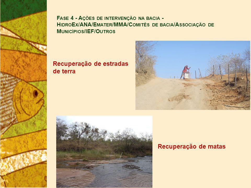 F ASE 4 - A ÇÕES DE INTERVENÇÃO NA BACIA - H IDRO E X /ANA/E MATER /MMA/C OMITÊS DE BACIA /A SSOCIAÇÃO DE M UNICÍPIOS /IEF/O UTROS Recuperação de estradas de terra Recuperação de matas