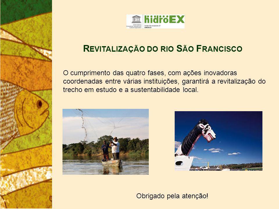 R EVITALIZAÇÃO DO RIO S ÃO F RANCISCO O cumprimento das quatro fases, com ações inovadoras coordenadas entre várias instituições, garantirá a revitalização do trecho em estudo e a sustentabilidade local.