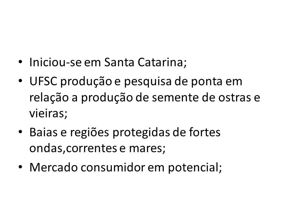 Iniciou-se em Santa Catarina; UFSC produção e pesquisa de ponta em relação a produção de semente de ostras e vieiras; Baias e regiões protegidas de fo