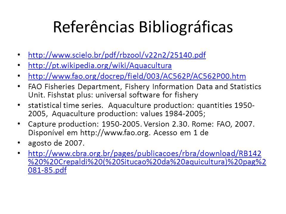 Referências Bibliográficas http://www.scielo.br/pdf/rbzool/v22n2/25140.pdf http://pt.wikipedia.org/wiki/Aquacultura http://www.fao.org/docrep/field/00