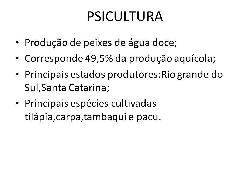PSICULTURA Produção de peixes de água doce; Corresponde 49,5% da produção aquícola; Principais estados produtores:Rio grande do Sul,Santa Catarina; Pr