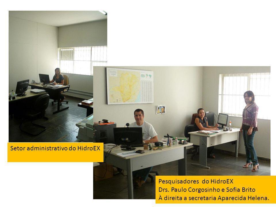 Pesquisadores do HidroEX Drs. Paulo Corgosinho e Sofia Brito À direita a secretaria Aparecida Helena. Setor administrativo do HidroEX