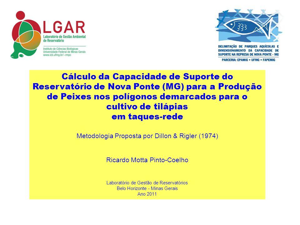 DADOS DE ENTRADA DO MODELO POLÍGONOS AQUÍCOLAS - RES NOVA PONTE Pol 1Pol 2Pol 3Pol 4Pol 5Pol 6Pol 7APol 7BPol 8Pol 9Pol 10Pol 11Pol 12Pol 13Pol 14Pol 15POL 16 TOTAL Conteúdo P na ração (%)0.5 Tx Conversão T.C : 1 1.5 1,51.5 Teor de P no Peixe (w/w) (%) 0.34 Tx Sed (%) 0.77 P inicial mg/m3 20.89.6 5.6 3.24.8 3.2 20.1 Pfinal mg/m3 30 Prof (m) 30.0924.820.4540.8 22.0517.55 23.611.16.49.214.614.310.318.4 Tempo Detençao (Mês) 0.90.3 2.20.40.70.3 2.20.60.1 0.7 0.2 Área (ha) 39.633.916.218.533.614.59.18.48.519.43.52.12.94.77.46.87.5 Biomassa Total de peixes (ton/ano) 1494.67274.92866.7877.48212.51353.71652.91525.8207.42755.41 245.8 431.0855.6334.3515.6341.2807.832752.8 Tab.