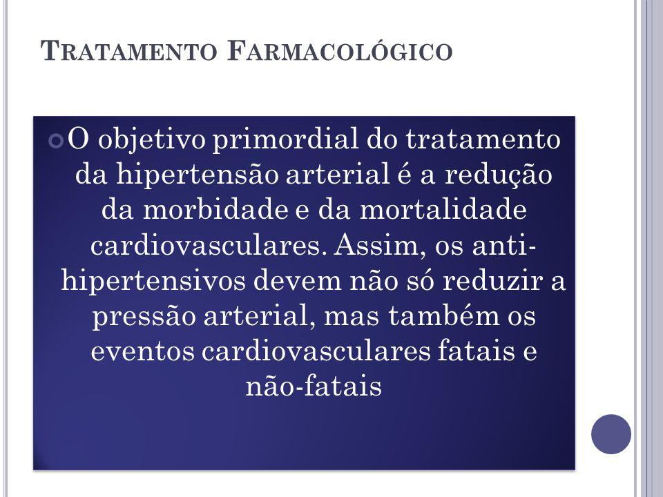 T RATAMENTO F ARMACOLÓGICO O objetivo primordial do tratamento da hipertensão arterial é a redução da morbidade e da mortalidade cardiovasculares.