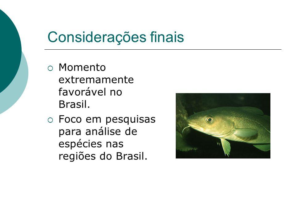 Considerações finais Momento extremamente favorável no Brasil. Foco em pesquisas para análise de espécies nas regiões do Brasil.